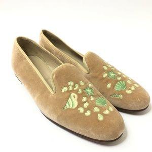 Stubbs & Wootton Womans Tan Velvet Loafers SIze 11